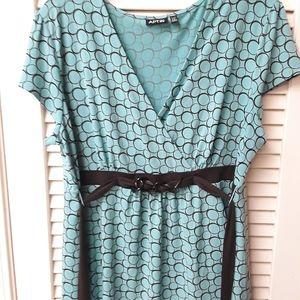 Apt 9 PXL blouse sky blue brown v neck belt circle